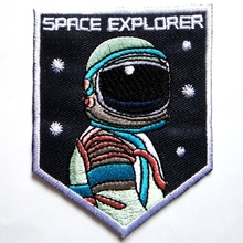 1Pcs SPACE EXPLORER Iron On Badge Patches Embroidered Applique Sewing Patch Clothes Stickers Garment Apparel Accessories