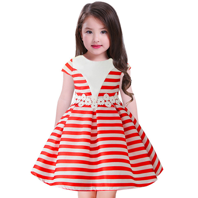 19eb8c830dbc2 2018 Dress for girls Summer Sleeveless red white Striped Sailor Dresses For  Kid Birthday Baby Girls Clothes Party For Girl Dress