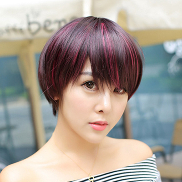 New Synthetic Heat Resistant Hair Wig 32cm Natural Pink Highlight