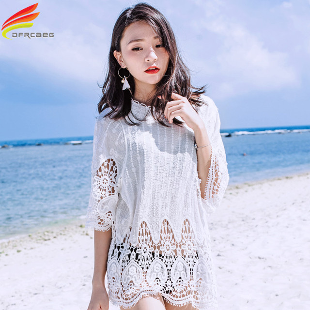 f8f8b63a1e New 2018 Summer Swimsuit Cover Up Women Crochet Beach Blusas Lace Loose Tops  Fashion Crochet Smock Blouse Sexy White Beach Wear