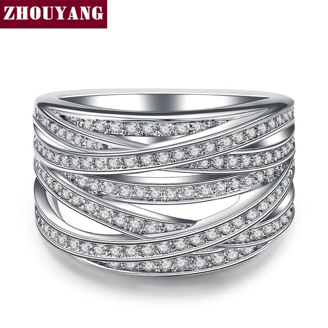 ZHOUYANG Wedding Engagement Ring For Women Luxurious Hollowed-out Cubic Zirconia