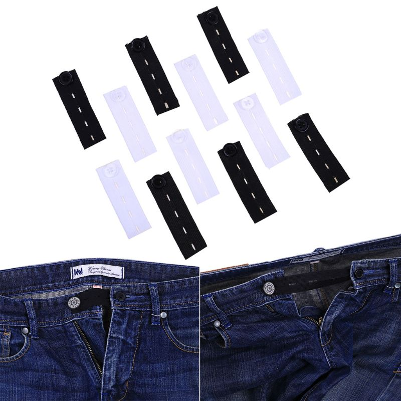 6Pcs Trousers Jeans Pants Waist Expander Waistband Extender Button Extender Elastic Rubber Band Belt