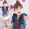 Новое поступление рукавов хлопок принцесса мода девушка джинсовая жилетка верхней одежды прохладный детей пальто