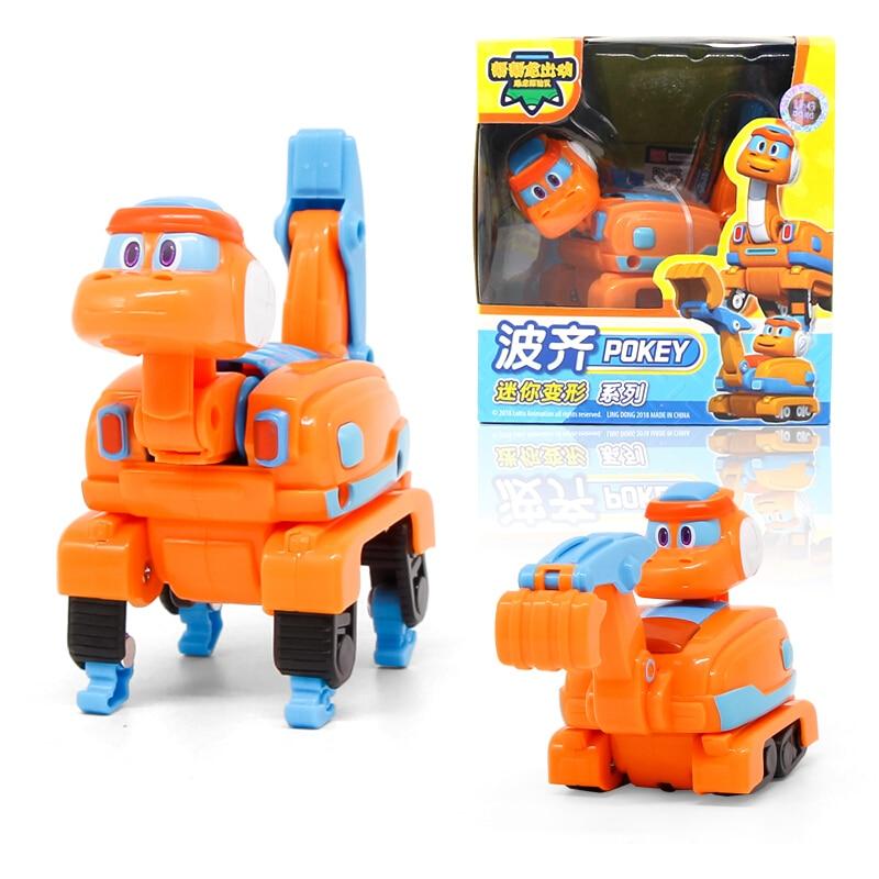 Фигурки героев мультфильма «ГОГО динозавр», игрушки для детей, миниатюрные Трансформеры из АБС-пластика, автомобиль, самолёт, лодка, кран