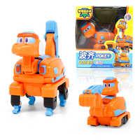 Newest ABS Min Transformation Gogo Dino Action Figures REX Deformation Car Airplane Motorboat Crane Dinosaur toys for Kids
