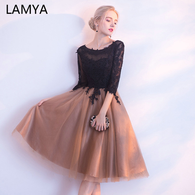 LAMYA Half Black Lace Sleeve   Prom     Dresses   Contrast Color Evening Party   Dress   Knee Length Ball Gown Tulle Special Occasion   Dress