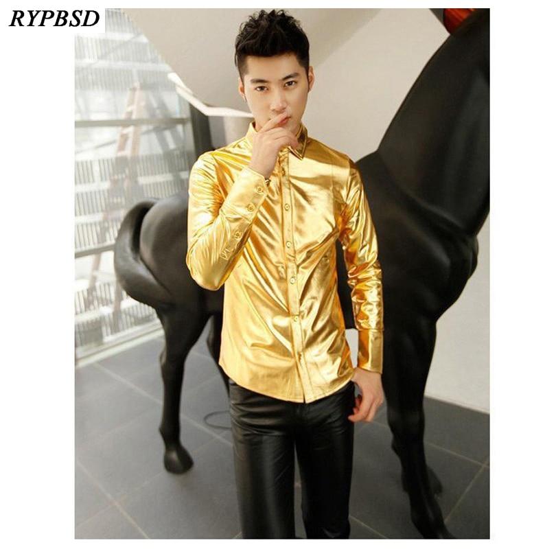 Camisa dorada para hombres 2019 Camisa de lujo negra plateada Hombres - Ropa de hombre