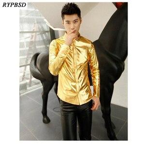 Image 1 - Gold Shirt for Men 2019 Black Silver Luxury Shirt Men Long Sleeve Faux Leather Gold Performance Luxury Mens Nightclub Shirt