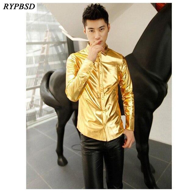 Gold Shirt for Men 2019 Black Silver Luxury Shirt Men Long Sleeve Faux Leather Gold Performance Luxury Mens Nightclub Shirt
