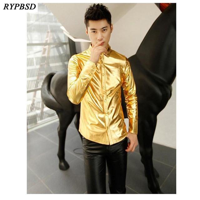 Złota koszula dla mężczyzn 2019 czarna srebrna luksusowa koszula męska z długim rękawem Faux Leather Gold Performance luksusowa męska koszula nocna