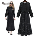Plus Size Women Long Dress 2017 Fashion Maxi Dresses Casual Long-sleeve Pleated Ankle-length Black Spring/Autumn Dress Vestidos
