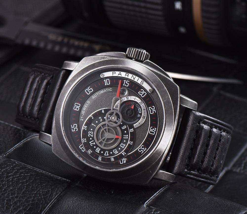 2016 Venta Caliente 43mm Parnis Automático Dial Negro Reloj de Plata - Relojes para hombres - foto 2