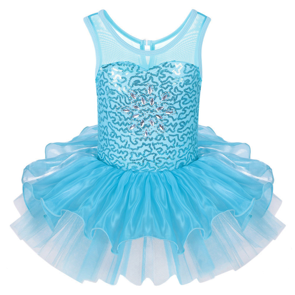 Buy Cheap Fancy Blue Kid Girls Ballet Tutu Dress Sequined Dancewear Sleeveless Ball Gown Tutu Dress Professional GYM Leotard for 2-8Y