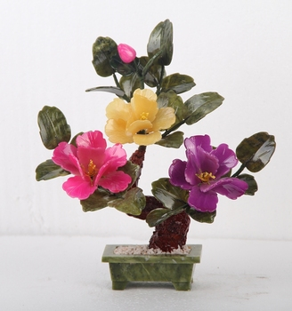 Jade bonsai 3 flower peony flower jade ornaments Home Furnishing multicolor living room TV cabinet office gift pot