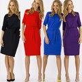 Mujeres dress nuevo color sólido más el tamaño de vestidos casuales de trabajo breve cuello redondo moda dress longitud de la rodilla oficina vintage dress