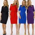 Women Dress Solid Color New Plus Size Casual Work Dresses Brief Round Neck Fashion Dress Knee Length Office Vintage Dress