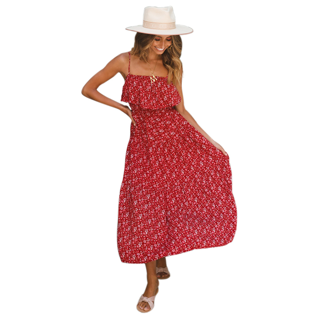 Summer Sleeveless Bohemian Dress Women Spaghetti Strap Backless Sun Beach Holiday Dress in Dresses from Women 39 s Clothing