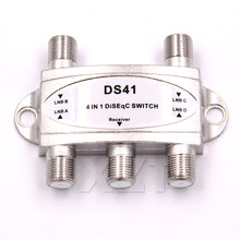 100pcs lots Hot sale TV DiSEqC Switch 4x1 DiSEqC Switch satellite antenna flat LNB Switch for TV Receiver(China)