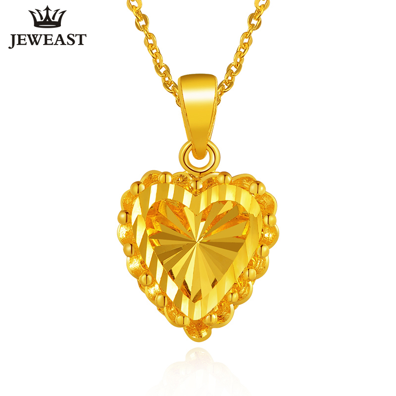 24K Pure Gold Pendant Real AU 999 Solid Gold Charm Nice Shiny Heart Upscale Trendy Classic Party Fine Jewelry Hot Sell New 2018 24k gold ring flower female women mother wife lady girl 2017new hot sale fine jewelry trendy good nice top upscale real pure 999
