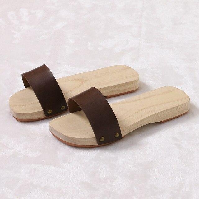 Geta Japon Cuir Homme Talon Pour Sandales Et Bois Femmes En Plat j35AR4L