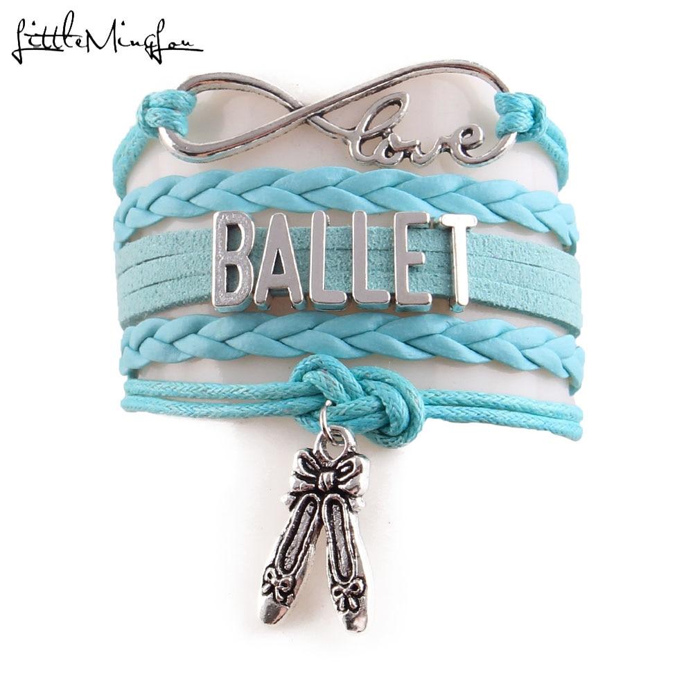 Petit MingLou infini amour Ballet bracelet danse shose breloque danseur Bracelet pour femmes corde cuir bracelets et bracelets