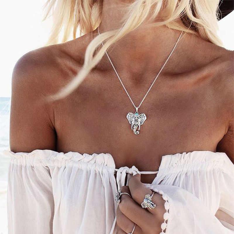 2017 Mới Bohemian Tim Tình Yêu Vòng Cổ Mặt Dây Chuyền Linh Vật Voi Xanh Vòng Cổ Bằng Đá Phụ Nữ Choker Vòng Cổ Jewellery Chain