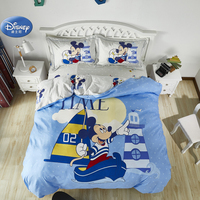 Disney Cartoon Light Blue Mickey Mouse Duvet Cover Flatsheet Pillowcases no Comforter Filler Queen Size Bedclothes for Boys Gift