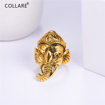 Collare Ganesha Buddha Elephant Ring For Men Gold Color Buddha Elephant Ring Men 316L Stainless Steel Cocktail Bands Ring R100