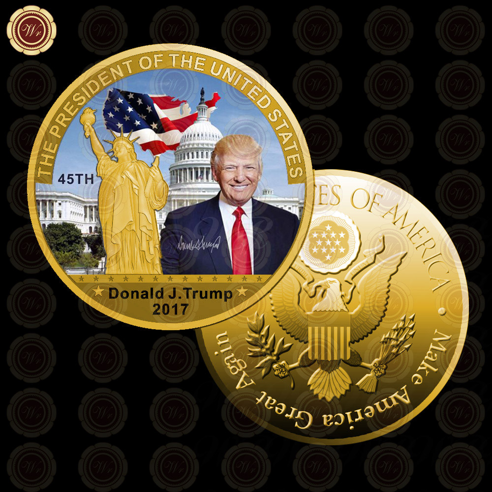 WR Gold Plated Coin United States 45th President font b Trump b font Make America Greater