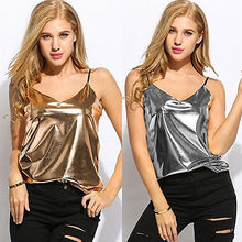 Fashion Women Summer Vest Top Sleeveless Casual Tank Tops Gold Sliver Solid V -Neck