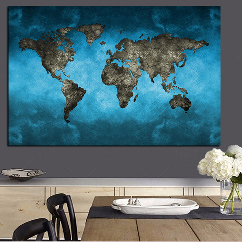 Abstract 3d world map canvas painting modern globe map hd print on abstract 3d world map canvas painting modern globe map hd print on canvas for office meeting room picture wall art cuadros decor in painting calligraphy gumiabroncs Image collections