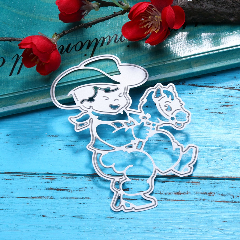 Cute Boy With Horse Metal Cutting Dies Stencils For DIY Scrapbooking Decorative Embossing Suit Paper Cards Die Cutting Template
