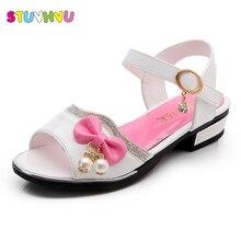 2019 Girls Summer Sandals Kids Beach Shoes Children Little Princess Rhinestone Pearl Bling Blue White Pink Colors