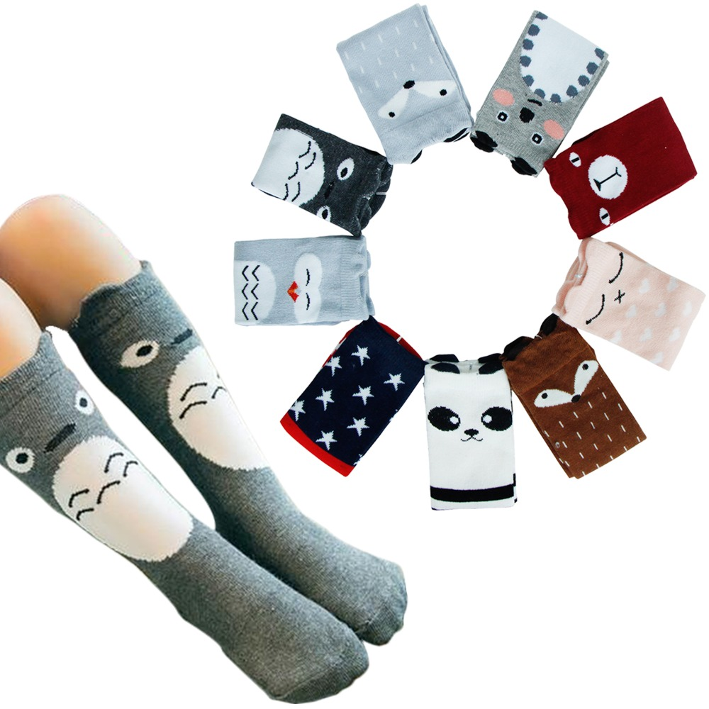One Pair Cotton Baby Socks Unisex Lovely Cute Cartoon Panda Animal Printed Knee Boy Girl Socks Baby Toddler Socks 0-3 Years Old