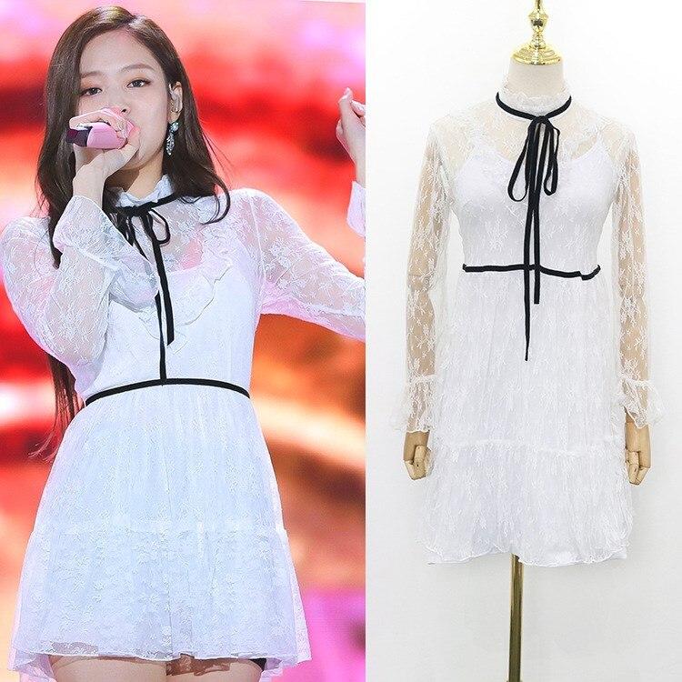 Kpop BLACKPINK JENNIE le même été sexy dentelle à manches longues robe femmes robes coréennes soirée élégante robe femme vêtements