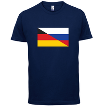 Half German Half Russian Flag - Mens T-Shirt - Russia / Germany - 13 ColoursMans Unique Cotton Short Sleeves O-Neck T Shirt blue side cut out round neck half sleeves t shirt