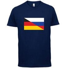 Half German Half Russian Flag - Mens T-Shirt - Russia / Germany - 13 ColoursMans Unique Cotton Short Sleeves O-Neck T Shirt plum crossed front design v neck cold shoulder half sleeves t shirt