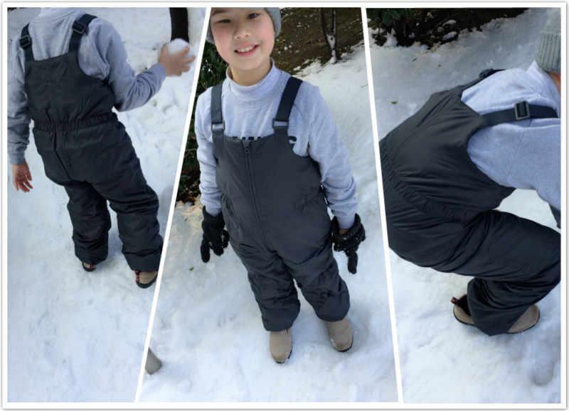 ใหม่ส่งออกยุโรปBoyกางเกงสกีฤดูหนาวSuspenderหิมะเด็กโดยรวมตะเข็บสาวกันน้ำWindproofอบอุ่นแสง