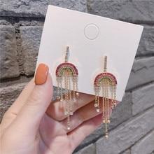Korean Colorful Rainbow Tassel Rhinestone Anti-allergy Woman Girls Dangle Drop Earrings Fashion Jewelry-QQD5 цена