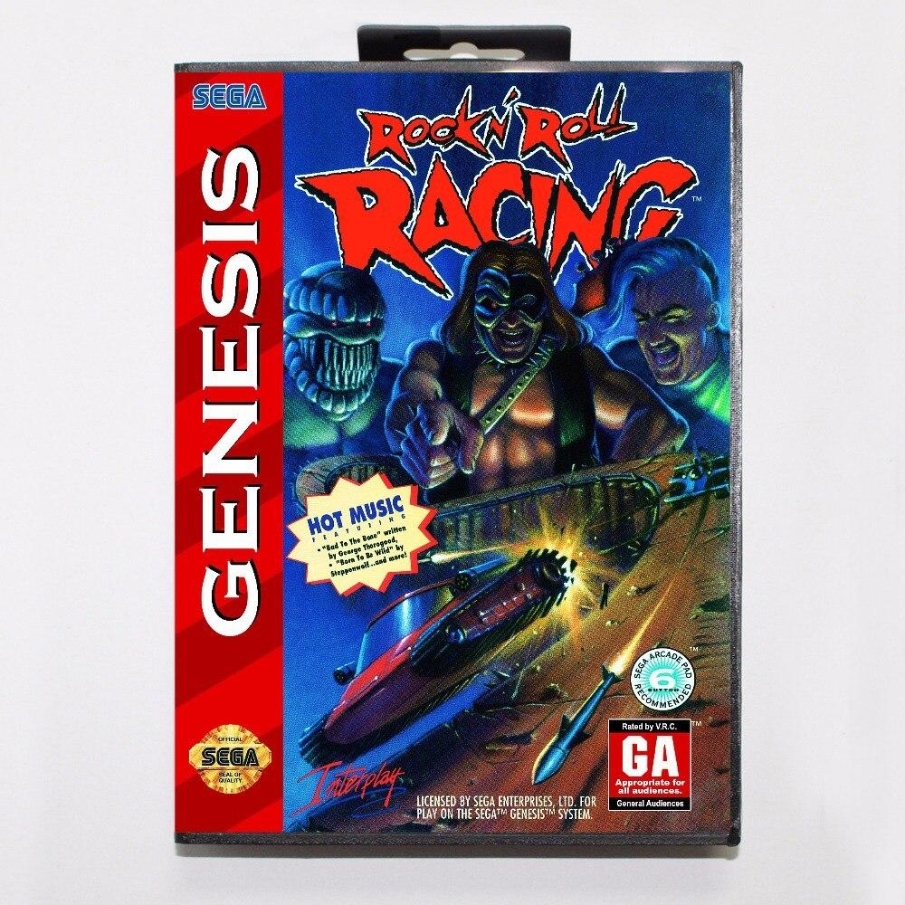 Rock 'n roll Racing juego cartucho 16 bit MD tarjeta de juego con caja al por menor para Sega Mega Drive para Génesis