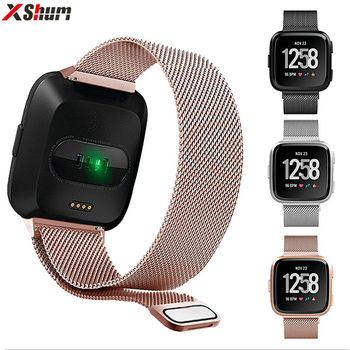 XShum Metal Stainless Steel Band For Fitbit Versa Strap Wrist Milanese Magnetic Bracelet fit bit Lite Verse 2 Band Accessories