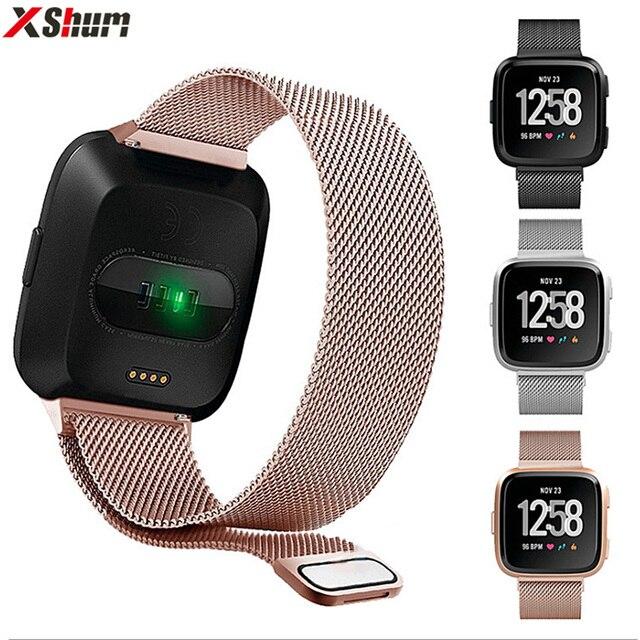 XShum Metalen Roestvrij Stalen Band Voor Fitbit Versa Strap Wrist Milanese Loop Magnetische Armband fit bit Vers Band Accessoires