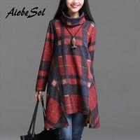 Autumn Winter 2016 Women Tunic Dress Female Vintage Plaid Asymmetry Turtleneck Long Sleeve Printed Dress Robe