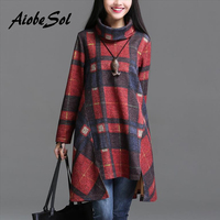 Autumn Winter 2016 Women Tunic Dress Female Vintage Plaid Asymmetry Turtleneck Long Sleeve Printed Dress Robe