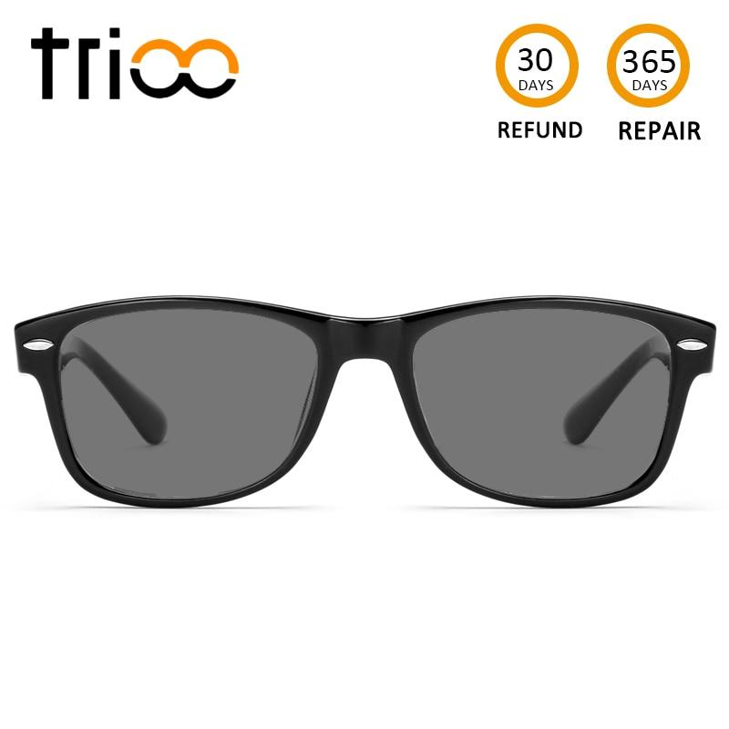 TRIOO Sunglasses With Diopters Driving Polarzied Prescription Sun Glasses Unisex Black Lens Myopia Minus Glasses Photochromic