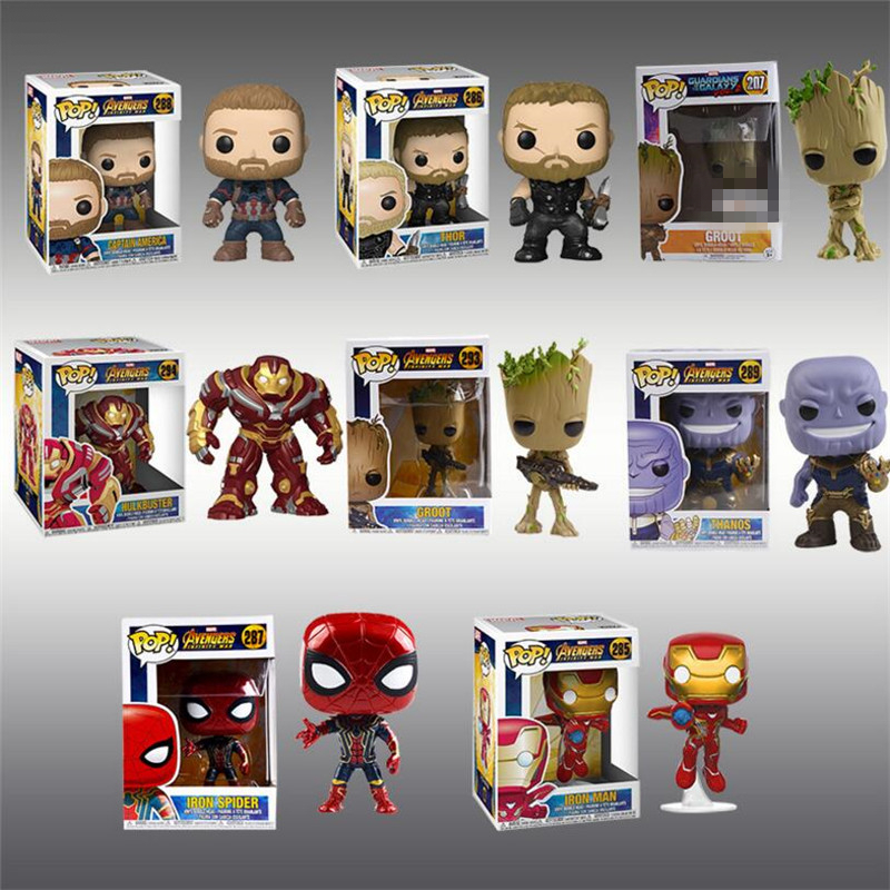 New Avengers 3 PVC Action Figures Super Hero THANOS IRON SPIDER HULKBUSTER Model For Children Gift Hot POP Figure
