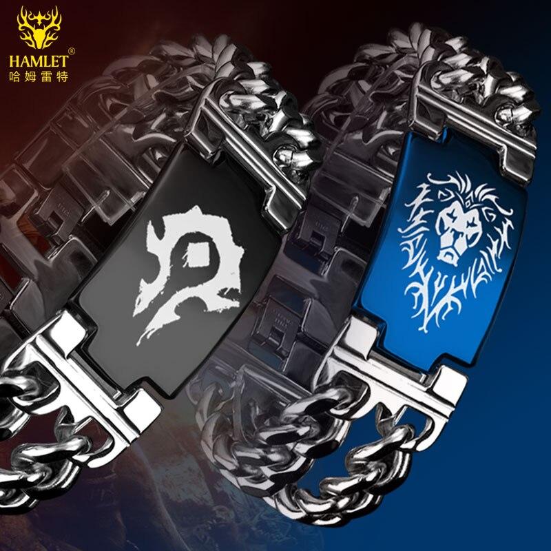Vaya mundo de Warcraft horda alianza pulsera de acero de titanio pulseras para Mujeres Hombres juego de joyería