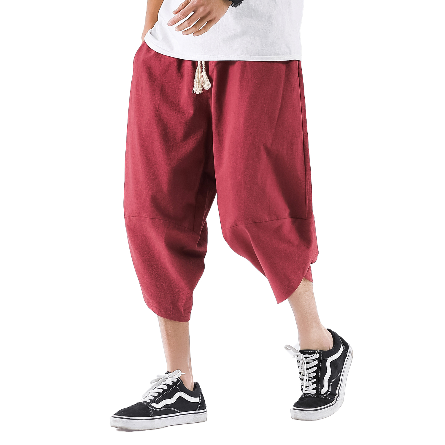 Pants Mens Trousers Male Linen Streetwear Hiphop Summer Crotch 5XL Wide Cotton Bloomers