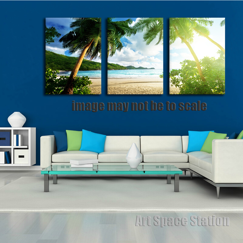 Tropical Beach Sea Poster Print Palm Trees Seascape Canvas Painting 3 Piece Wall Art Decoration For Living Room No Framed In Calligraphy From