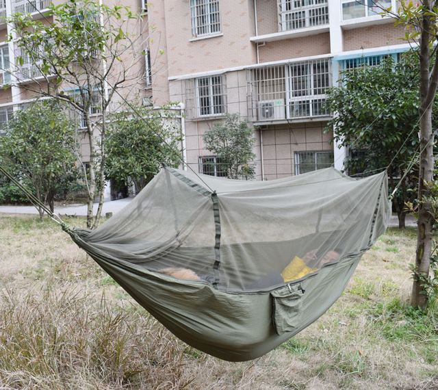 Swift 250x135cm Portable Army Green High Strength Parachute Nylon Camping Mosquito Hammock With Mosquito NetsSwift 250x135cm Portable Army Green High Strength Parachute Nylon Camping Mosquito Hammock With Mosquito Nets